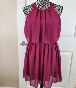 By & By Wine Halter Dress
